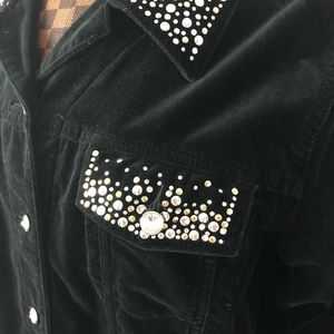 Quacker Factory Jackets & Coats - 🌺4/$20 Velvet Rhinestone Studded Black Shirt Coat